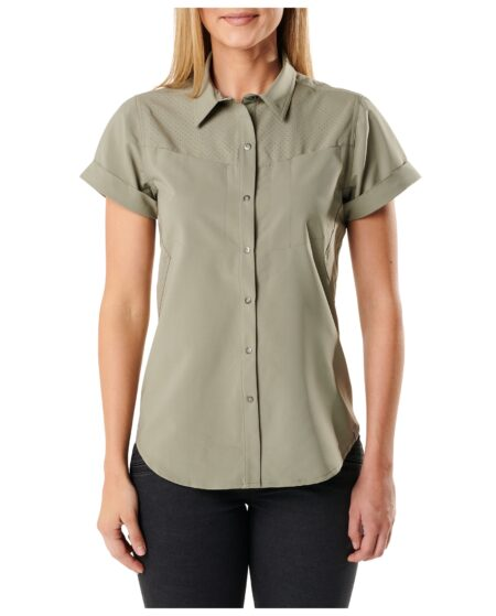 5.11 Tactical Women Womens Freedom Flex Short-Sleeve Shirt (Green), Size S (CCW Concealed Carry)