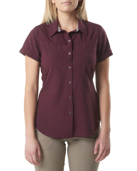 5.11 Tactical Women Womens Freedom Flex Short-Sleeve Shirt (Red), Size XS (CCW Concealed Carry)