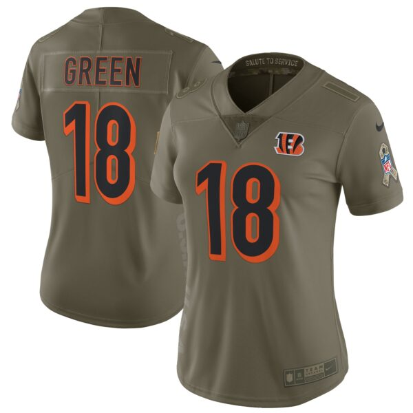A.J. Green Cincinnati Bengals Nike Women's Salute to Service Limited Jersey - Olive
