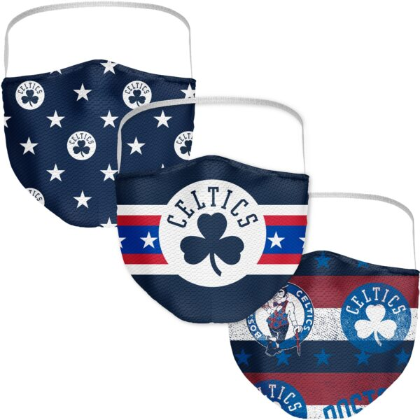 Adult Fanatics Branded Boston Celtics Patriotic Face Covering 3-Pack
