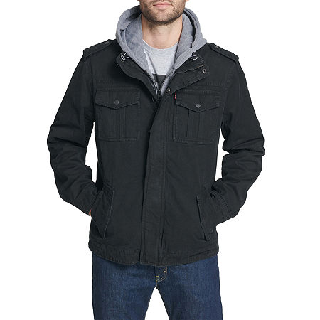 Levi's Washed Cotton Sherpa Lined Hooded Military Jacket, Small , Black