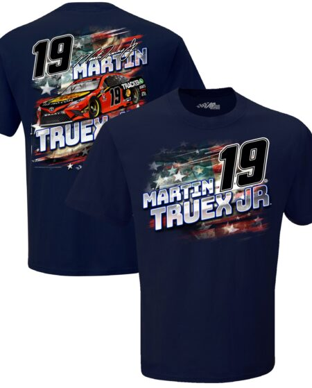 Martin Truex Jr Joe Gibbs Racing Team Collection Bass Pro Shops Patriotic Driver T-Shirt - Navy