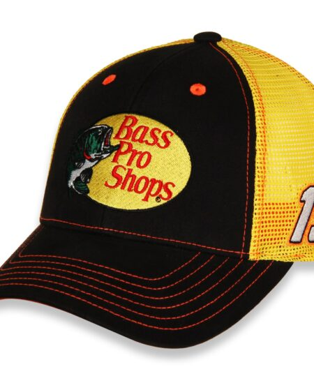 Martin Truex Jr Joe Gibbs Racing Team Collection Bass Pro Shops Sponsor Adjustable Trucker Hat - Black/Yellow