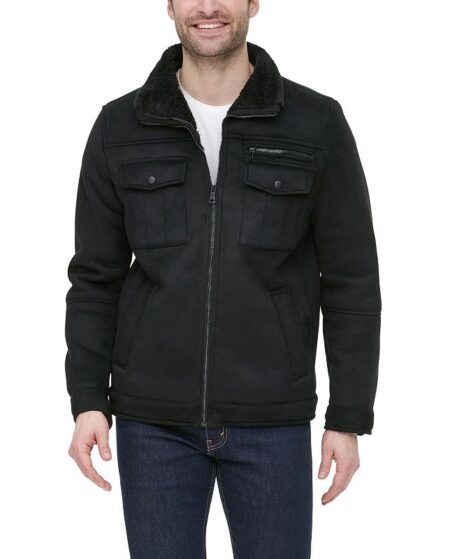 Men's G.H. Bass Faux-Shearling Stand-Collar Military Jacket, Size: Medium, Black