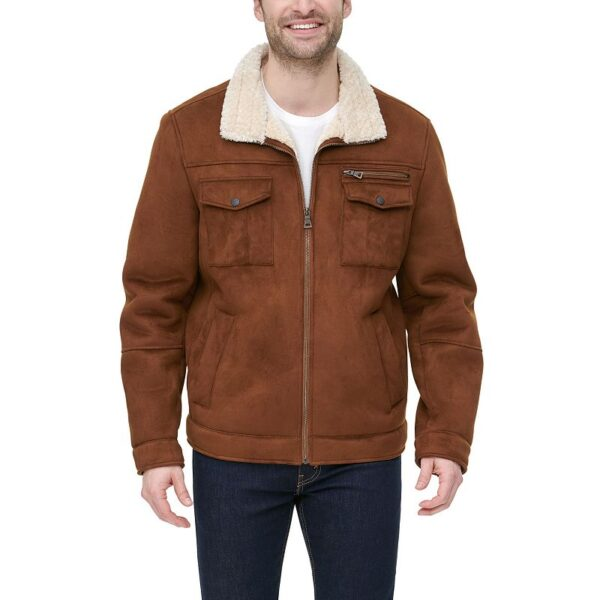 Men's G.H. Bass Faux-Shearling Stand-Collar Military Jacket, Size: Medium, Brown