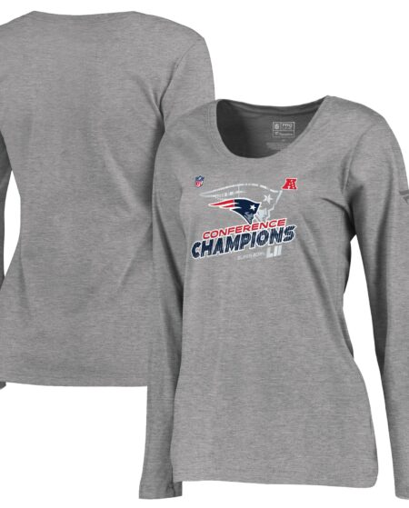 New England Patriots NFL Pro Line by Fanatics Branded Women's 2017 AFC Champions Trophy Collection Locker Room Plus Size Long Sleeve T-Shirt - Heather Gray