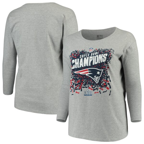 New England Patriots NFL Pro Line by Fanatics Branded Women's Super Bowl LIII Champions Trophy Collection Locker Room Plus Size Scoop Neck Long Sleeve T-Shirt - Heather Gray