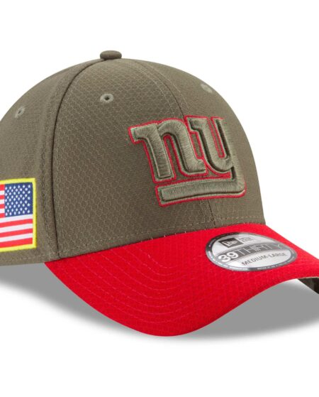 New York Giants New Era Youth 2017 Salute To Service 39THIRTY Flex Hat - Olive