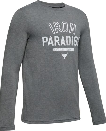 Under Armour Boys' Project Rock Iron Paradise Graphic Long Sleeve Shirt, Medium, Gray