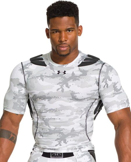 Under Armour Men's Gameday Armour 5-Pad Camo Football Shirt, XXL, White