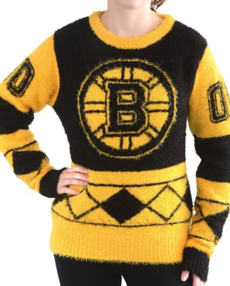 Women's Boston Bruins Klew Black Eyelash Ugly Sweater