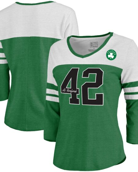 Women's Fanatics Branded Al Horford Kelly Green Boston Celtics Starstruck Name & Number Tri-Blend 3/4-Sleeve V-Neck T-Shirt