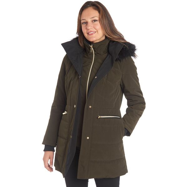 Women's Fleet Street Faux-Fur Hooded Quilted Puffer Jacket, Size: Small, Military
