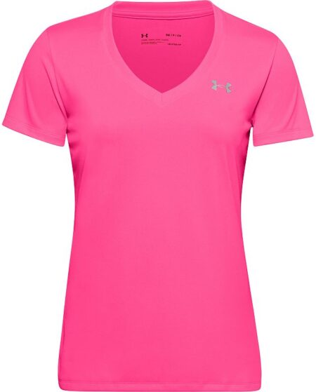 Women's Under Armour Tech Twist V-Neck Tee, Size: Large, Dark Pink