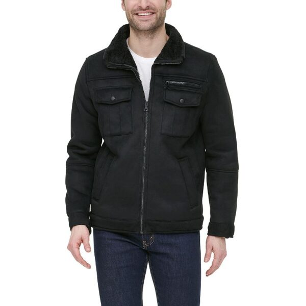 Men's G.H. Bass Faux-Shearling Stand-Collar Military Jacket, Size: Small, Black