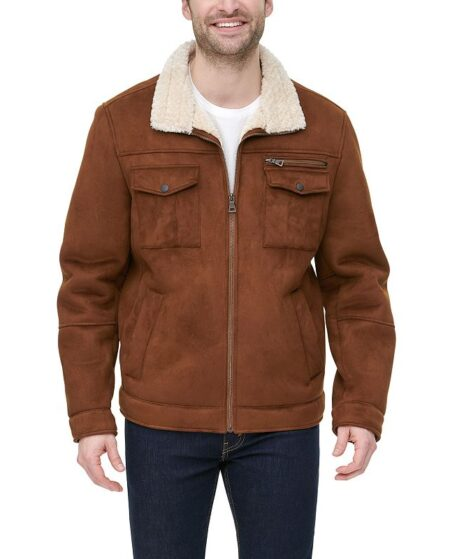 Men's G.H. Bass Faux-Shearling Stand-Collar Military Jacket, Size: XL, Brown