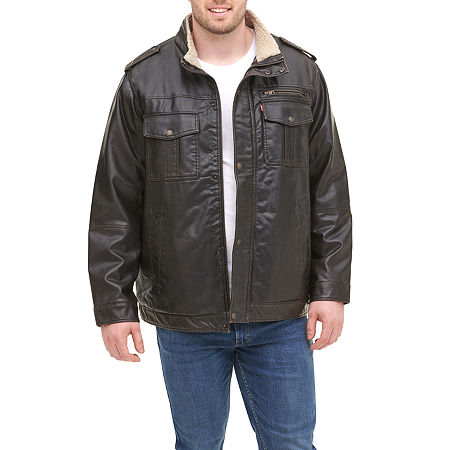 Levi's Big & Tall Faux Leather Sherpa Lined Military Jacket, 2x-large , Brown