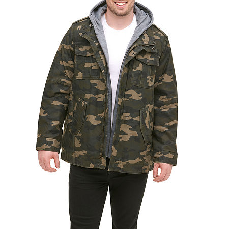 Levi's Big & Tall Washed Cotton Sherpa Lined Hooded Military Jacket, X-large Tall , Multiple Colors