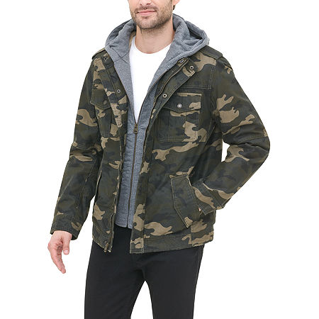 Levi's Washed Cotton Sherpa Lined Hooded Military Jacket, X-large , Green