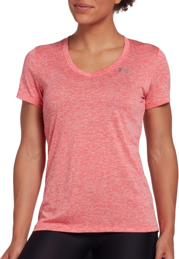 Under Armour Women's Twisted Tech V-Neck Shirt, Small, Red